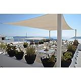 Restseller24 Sonnensegel 5x5m Creme quadratisch wasserfest UV-Schutz Sonnenschutz aus reißfestem Polyester wetterfest Garten Balkon Terrasse Camping