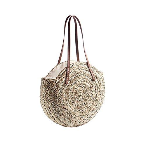 CSPone | Korbtasche geflochten rund, Strohtaschen Damen Strand, Körbe geflochten, Einkaufskorb geflochten, Bastkorb, Umhängetasche, Handtaschen