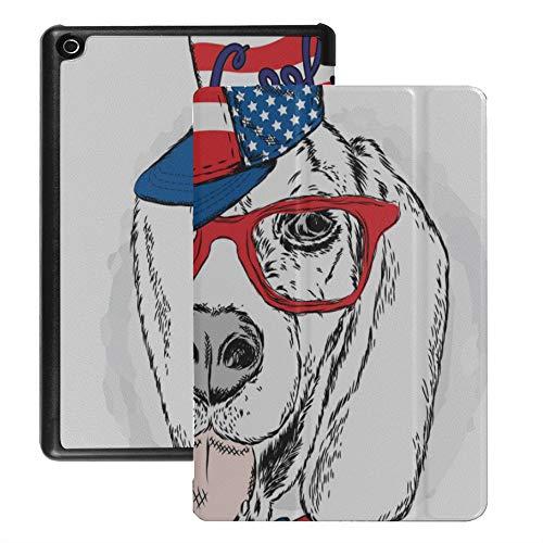 Tablet-Abdeckung für Feuer Hd 8 Dackel Hund Sonnenbrille Mode Welpenabdeckung für Hd 8 Fire Tablet (2018 2017 2016 Release, 8./7 ./6. Generation) Mit Auto Wake/Schlaf