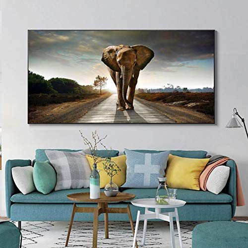 XIANGPEIFBH Modern African Tall Elephant Posters and Prints Wall Art Canvas Painting Room Wall Art Animal Picture Home Decoration 40x80cm Unframed