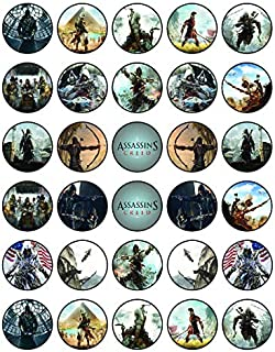 30 x Edible Cupcake Toppers – Assian creed Themed Collection of Edible Cake Decorations | Uncut Edible Prints on Wafer Sheet
