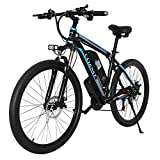 CLIENSY 26' Electric Mountain Bike, 350W Ebike with Removable 36V 10AH Lithium Battery for Adults, 21 Speed Shifter (Blue)
