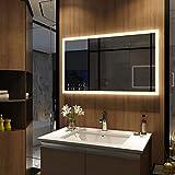 Meykoers Wandspiegel Badezimmerspiegel LED Badspiegel mit Beleuchtung 100x60cm mit Touch Schalter, Lichtspiegel Dimmbar Warmweiß/Kaltweiß/Neutral 3000K-6400K