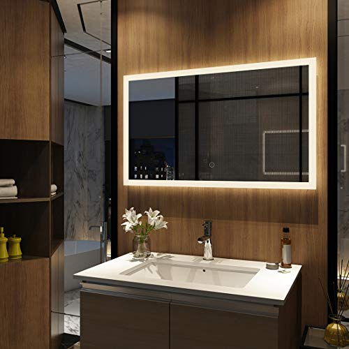 Meykoers Wandspiegel Badezimmerspiegel LED Badspiegel mit Beleuchtung 100x60cm mit Touch Schalter, Lichtspiegel Dimmbar Warmweiß/Kaltweiß/Neutral 3000K-6400K Energieklasse A++