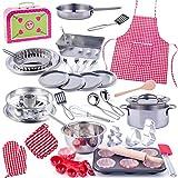 alles-meine.de GmbH 59 TLG. Backset / Kochset - Kinderküche & Koffer - aus Metall - echte Blech / Töpfe Pfanne - Kochgeschirr - Muffin Backform + Küchenhelfer Löffelküche - Kinde..