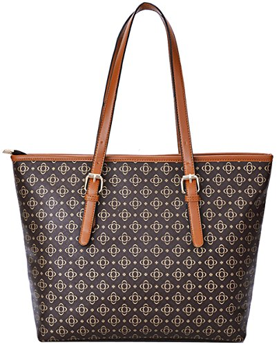 Coofit Borse Donna PU in Pelle Borse Moda a Tracolla Borsa Shopper Tote Bag (Brown)