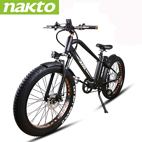 NAKTO 500W Electric Bike 26' Electric Bicycle with 48V12A Battery, Mountain Electric Bikes for Adults(1 Year Warranty)