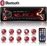Autoradio Bluetooth Mains Libres, 7 Couleurs d'Eclairage FM Stéréo Radio 1 din Poste Radio Voiture 4x60W Radio Voiture Support FM/USB/MP3/WMA/TF/AUX +Télécommande, Charge Rapide