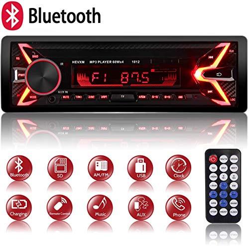 Autoradio Bluetooth Mains Libres, 7 Couleurs dEclairage FM Stéréo Radio 1 din Poste Radio Voiture 4x60W Radio Voiture Support FM/USB/MP3/WMA/TF/AUX +Télécommande, Charge Rapide