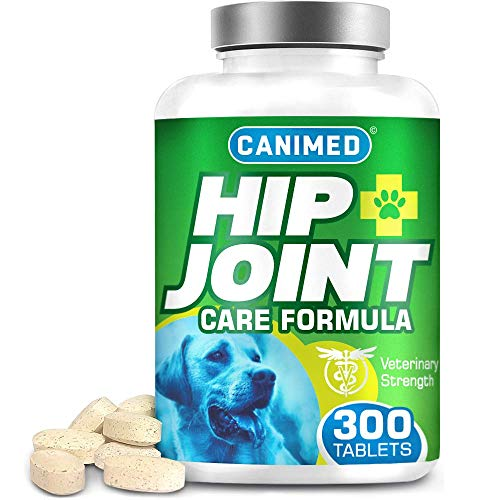 CANIMED Joint supplements for dogs | 300 Tablets | With Green Lipped Mussel, Glucosamine & Chondroitin, Turmeric, MSM, Hyaluronic Acid, Manganese and Vitamins for dog joint care. Aids stiff joints.