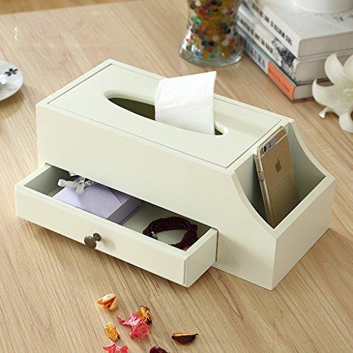 JPVGIA Caja de Almacenamiento de Madera sólida, Caja de clasificación Multifuncional Creativa, Caja de pañuelos de Caja de Control Remoto, 33 * 15 * 13 cm (Color : White)
