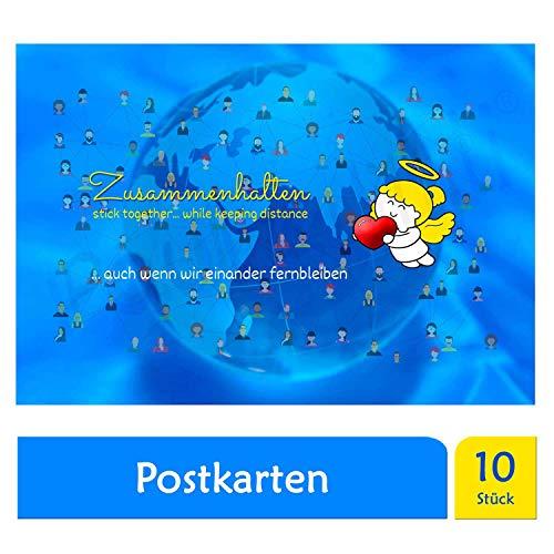 Paul & Lilli Engelige Grüße Postkarten Set 10 Stück - Zusammenhalten - Größe >A6 12 x 17,5cm - Schutzengel Karte blanko