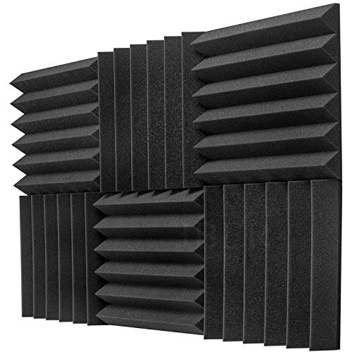 "JBER 6 Pack Acoustic Foam Wedge, 2"" X 12"" X 12"" Studio Soundproofing Panels Fire Resistant Sound Proof Padding Acoustic Treatment Foam (6 Square Feet, Charcoal)…"