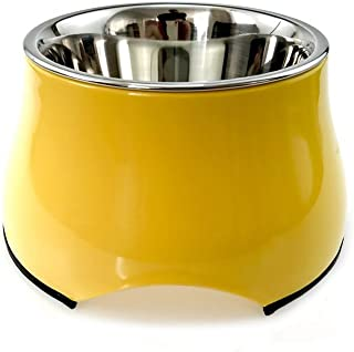 SHOHASH ペット用食器 ペットボウル 犬猫用 餌いれ ステンレス製 滑り止 足高型 (S, イエロー)