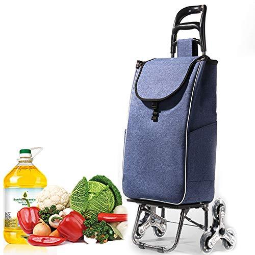 MAI&BAO Einkaufstrolleys Klappbar Treppensteiger Einkaufstrolley mit 6 Reifen Einkaufswagen Einkaufsroller abnehmbare Regenfeste Tasche blau