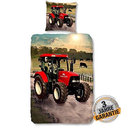 Aminata Kids Coole Bettwäsche-Set Traktor-Motiv 135 x 200 cm + 80 x 80 cm Jungen, rot - aus Baumwolle mit Reißverschluss, unsere Kinder-Bettwäsche mit Trecker-Traktoren-Motiv ist weich und kuschelig