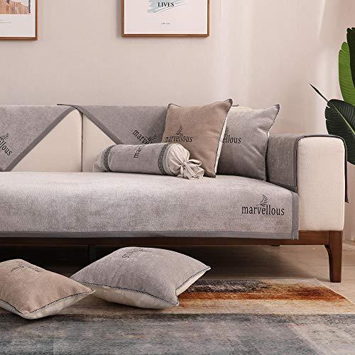 Hybad Esquina Funda de Sofa,Funda de sofá de Tela Fina,Fundas Antideslizantes de 4 Estaciones para sofá de Cuero,Protector de sofá de Chenilla,cojín de sofá Toalla-Gris_110 * 210cm