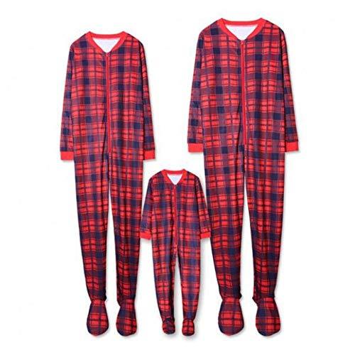 TLLW Pijama familiar de Navidad, 2 piezas, traje de Navidad, manga larga, camiseta, pijama de cuadros para mujer Rojo Papá Rojo 4-5 años