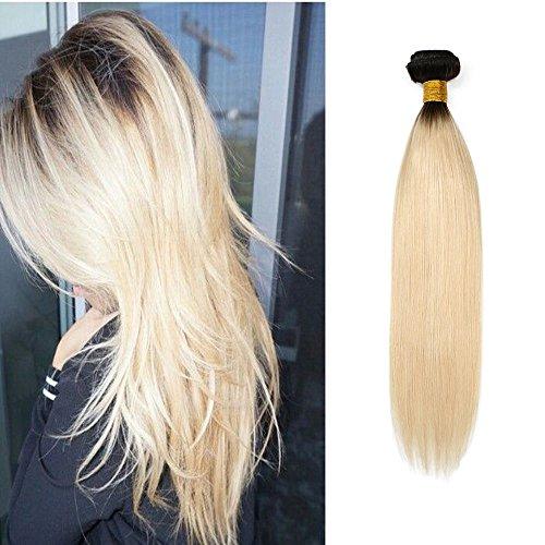 Mila Echthaar Tressen Blonde Ombre 1B/613# 100g/Bundle Quality Weaving Human Hair Extensions Glatt Brasilianisches Reine Haarverlängerungen 18
