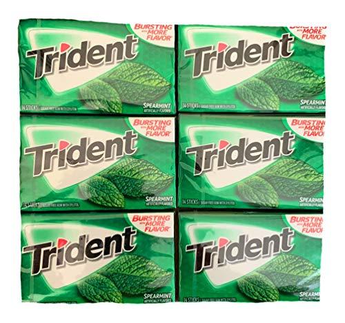 Trident Spearmint Gum | Trident Sugarfree Gum | Pack of 6 | 14 Sticks Per Pack