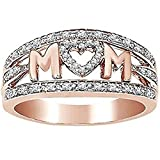 Jude Jewelers Rhodium Plated Mom's Ring Mother's Day Birthday Gift (Rose Gold, 7)
