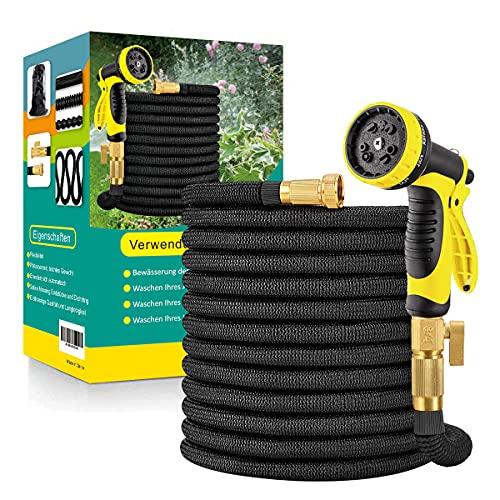 Manguera de jardín flexible con boquilla de 10 funciones, adaptador de latón para colgar para riego, trabajos de jardín, lavado de coche, patio de 15 m, 22,5 m, 30 m, 45 m (30 m)