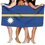 52x32 Inch Strandtuch Tragbares Fitnesshandtuch Hamamtuch,Nauru Flagge für Picnic