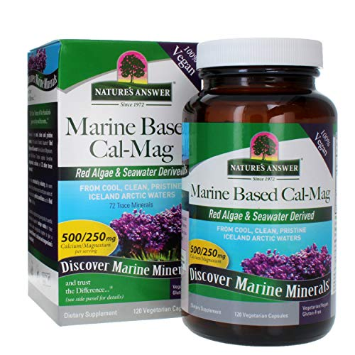 Nature's Answer Marine Based Calcium Magnesium, Super Concentrated 500mg | Plant Based | Red Algae & Seawater Derived | Alcohol-Free & Gluten-Free | Vegetarian Capsules 120ct