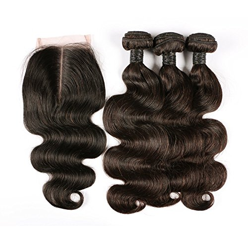 BLISSHAIR 7A Grade Human Hair Bundles Weave Extensions Brésiliens Hair Extension Perruque 3 Bundle trame + 1 lot de dentelle fermeture frontal
