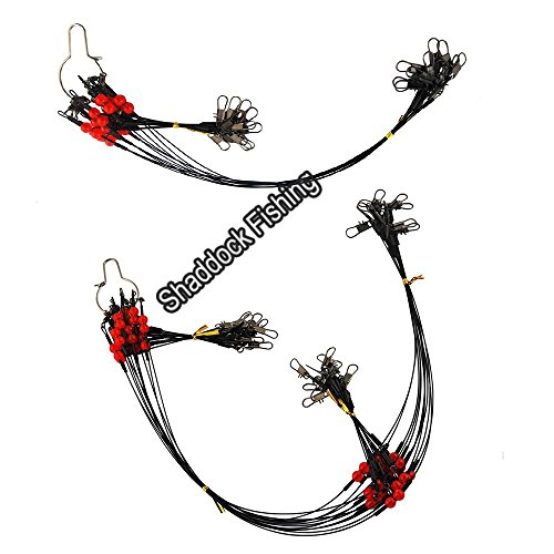 Shaddock Fishing 12pcs/Bags Stainless Steel Fishing Leader Wire Rigs Trace with Swivels,Snaps,Beads, Arms Fishing Lure Tackle Leaders Rigging (13.8inch with 1 Arm)