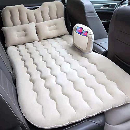 EPHESIAL Inflatable Car Air Mattress with Headboard, Pocket, Pillows and Air Pump (Portable) - Back Seat Air Bed for Travel and Camping - Blow Up Air Mattress - Car Bed fits Car, SUV, Truck (Cream)