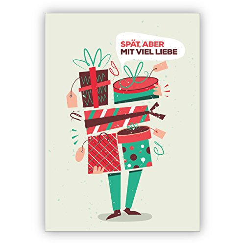 1 Weihnachtsgruß lustige Retro Geburtstagskarte/Weihnachtskarte mit Umschlag für Verspätete: Spät aber mit viel Liebe • als feine Grusskarte zu Weihnachten zum Jahres-Ende für Freunde
