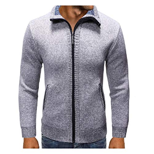 VITryst-Men Stand up Collar Knitted Jacquard Fall Winter Full-Zip Sweaters Light Grey 2XL