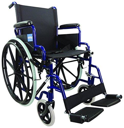 Aidapt VA166BLUE Transport-Rollstuhl aus Stahl zum Selbstantrieb