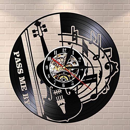 Guitarra y Notas Musicales Música Disco de Vinilo Reloj de Pared Arte Decoración de la habitación del hogar Juego de Regalo para músicos Idea para Amantes de la música Reloj LP de 12 Pulgadas Negro