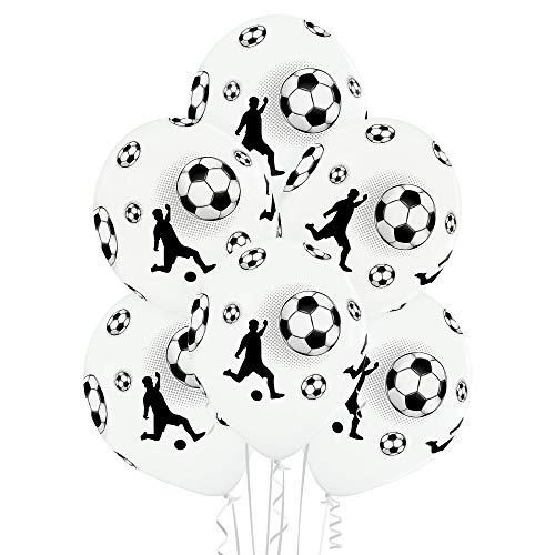 PARTY FACTORY Globos de látex, 27 cm de diámetro, 25 unidades, colores multicolor, para cumpleaños, bodas, Halloween, Nochevieja, fútbol, varios diseños (fútbol)