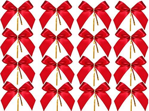 KAHEIGN 144Pcs Weihnachtsschleifen Rot Weihnachtsbaum Schleifen Deko, Weihnachtsbogen Band Bogen Tannenbaum Weihnachtsbaumschmuck Schleifen Weihnachten Zierschleifen für Weihnachtsbaum