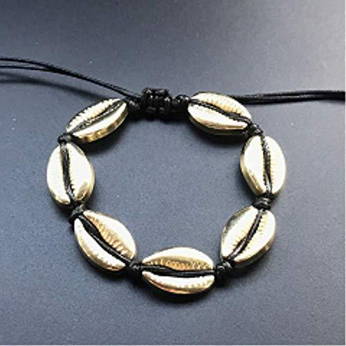 BDCF Armband Handgemachte natürliche Muschel Hand Stricken Armband Muscheln Armbänder Damen Accessoires Perlen Strang Armbandschwarz Gold S905-1b