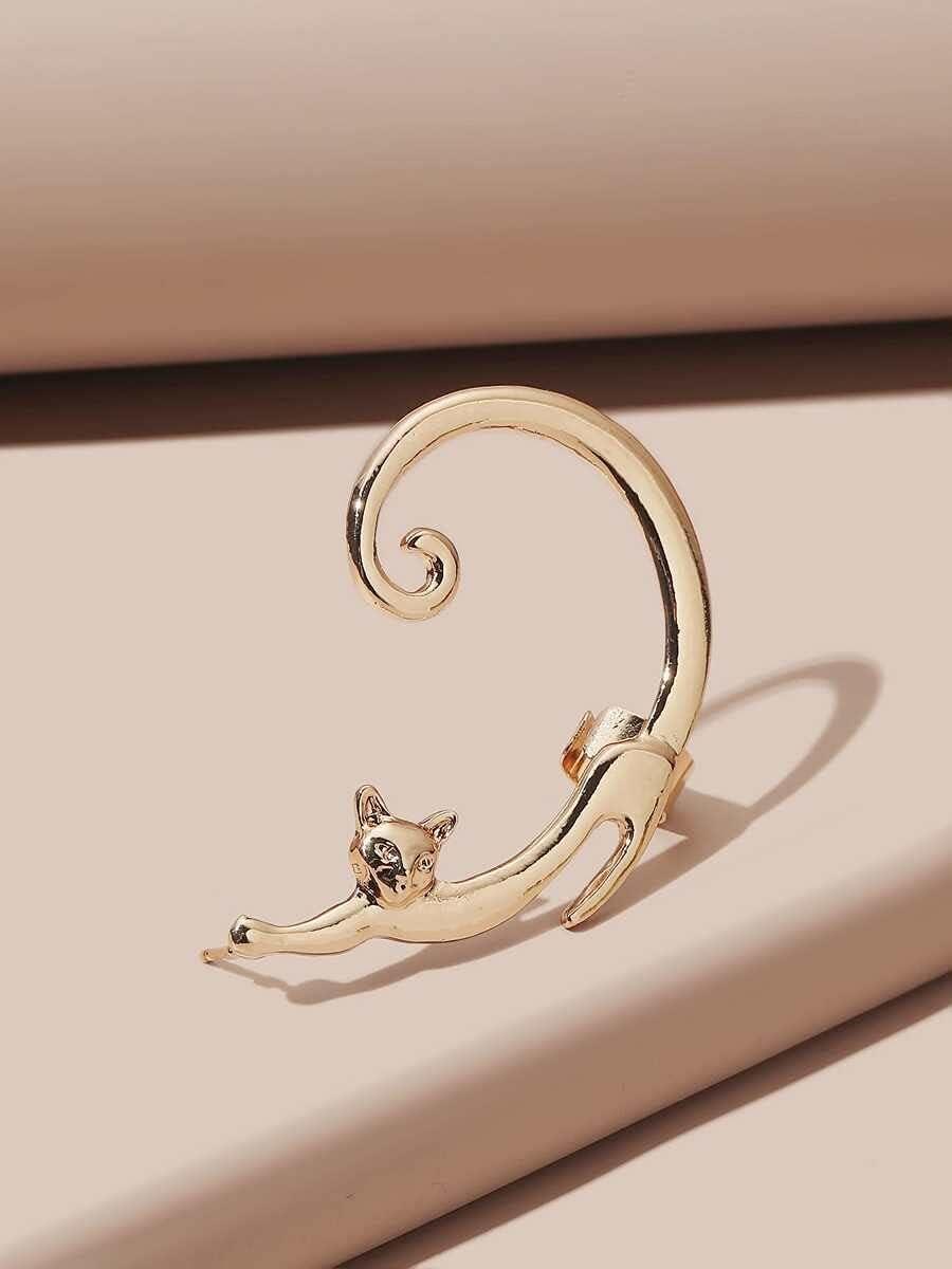 LCUY Hoop Earrings Cat Design Ear Cuff (Color : Gold)