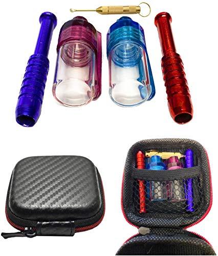 M & M Smartek EDLES klein voor de handtas Hard Case snuipftabak snuippet Deluxe in zwarte case met twee buisjes, twee doseertjes en een kleine lepel (snuiftabak) voor de broekzak