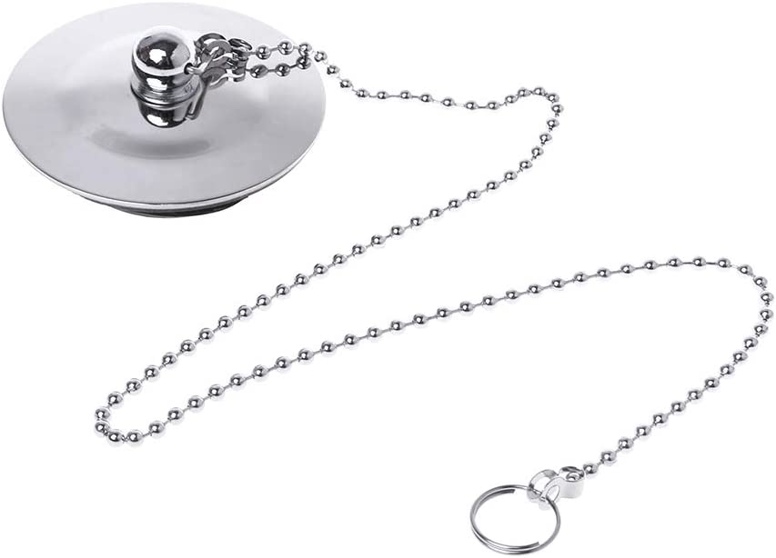 R-WEICHONG Conector de cadena con cadena, tapón de drenaje para bañera, tapón de agua, para baño o cocina, cromado