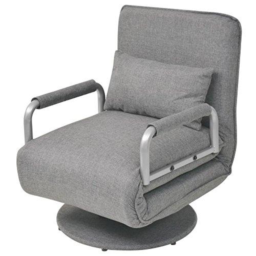 vidaXL Silla giratoria y sofá cama color gris claro 60x75x80 cm