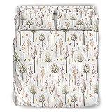 WellWellWell Set di biancheria da letto con motivo a foglie, 4 pezzi, resistente, con chiusura lampo, 1 copripiumino e 2 federe bianche, 228 x 228 cm