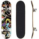 """Bunao 31 x 8"""" Planche à roulettes Deck érable Skateboard Complète pour Adolescents, débutants, Filles, garçons, Enfants, Adultes - Roues ABEC 7 (Couleur 4)"""