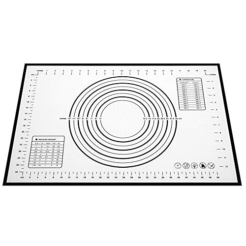 """NanaHome Baking Mat with Measurement, Non-Stick Silicone Baking Mat, Non-Slip Silicone Baking Mat, Dough Rolling Mat, Silicone Pastry Mat for Rolling Out Dough(24""""16"""" Black)"""