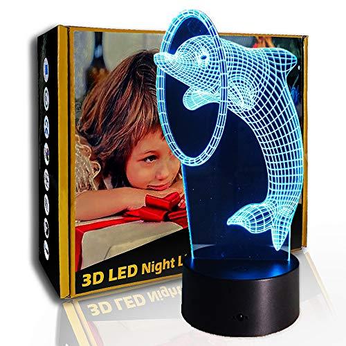 JINYI 3D Nachtlicht Lovely Naughty Dolphin, LED Illusion Tischlampe, C - Berühren Sie Crack White (7 Farben), Neuheitslampe, Glücksgeschenk, Schlafzimmerlampe, Partygeschenk