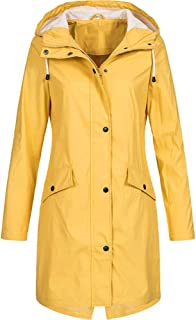 Women Rain Jacket Hooded Coat with Pockets Outdoors Waterproof Windbreaker
