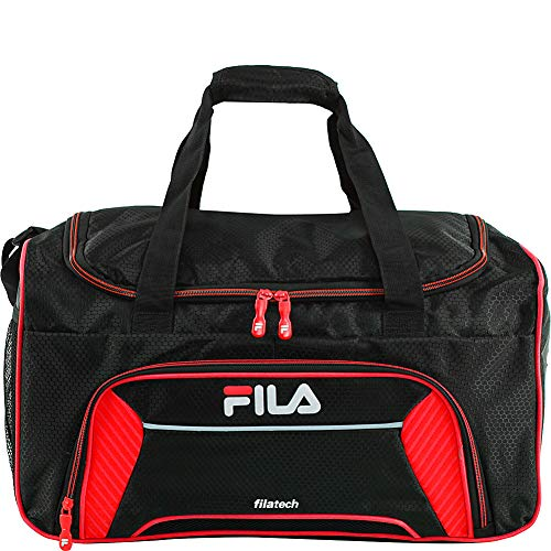 Fila Orson Small Sports Duffel Bag, Black/Red, One Size