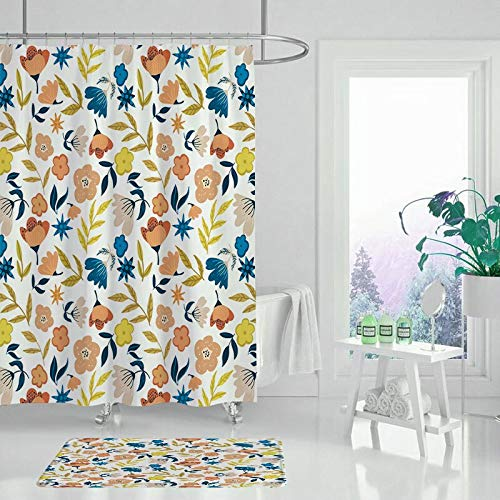 XCBN Cortina de Ducha de baño con Estampado de Flores de Plantas con Pantalla de Gancho decoración del hogar Cortina de Ducha Impermeable y a Prueba de Moho A9 150x180cm