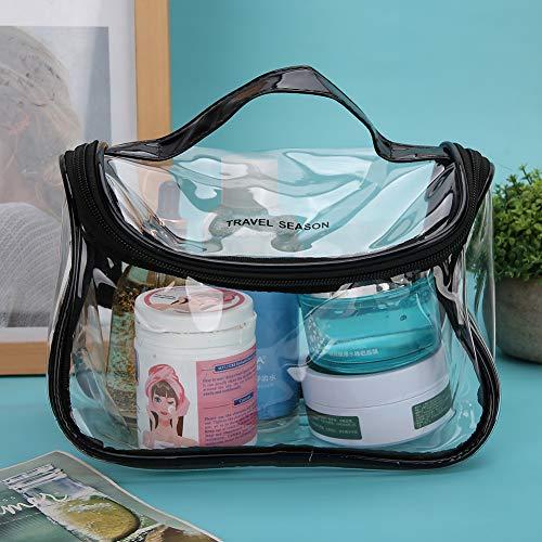 Annjom Tragbare Schminktasche Glatte doppelte Legierung Reißverschlusstasche Kosmetiktasche, Schminktasche, Schminktasche, für Frau für(Black, Fang)